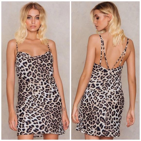Bardot Dresses   Skirts - Bardot • Leopard Print Cowl Strappy Slip Dress 8bde9e767
